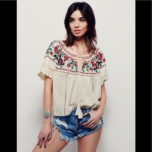 Free People Song Bird Embroidered Top..size Medium